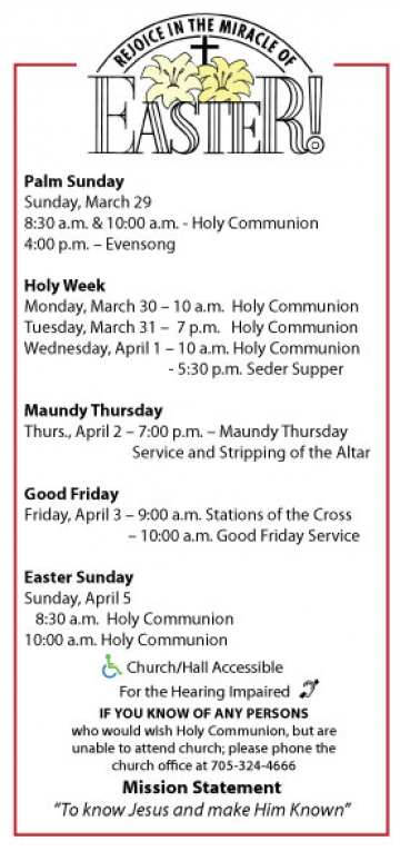 Easter Services at St. Paul's Anglican Church